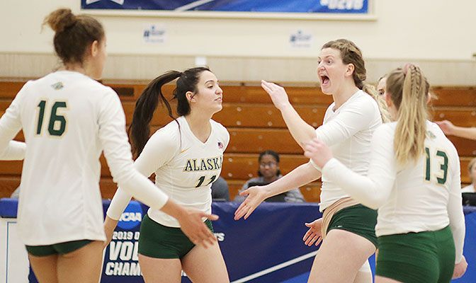 Junior middle blocker Kayla McGlathery finished with 10 kills and seven blocks as Alaska Anchorage earned a spot in the regional semifinals. Photo by Joshua Ocampo.