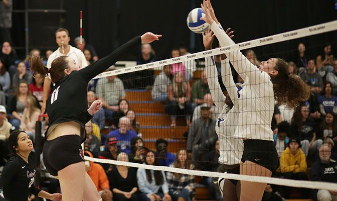 Central Washington's Bridgette Webb finished with 10 kills in the final match of her career. Photo by Joshua Ocampo.