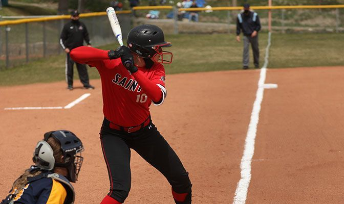 Saint Martin's freshman Britney Patrick, the GNAC Player of the Week, had three of the Saints' 10 home runs in a series sweep of Montana State Billings. Photo by Shi Robinson.