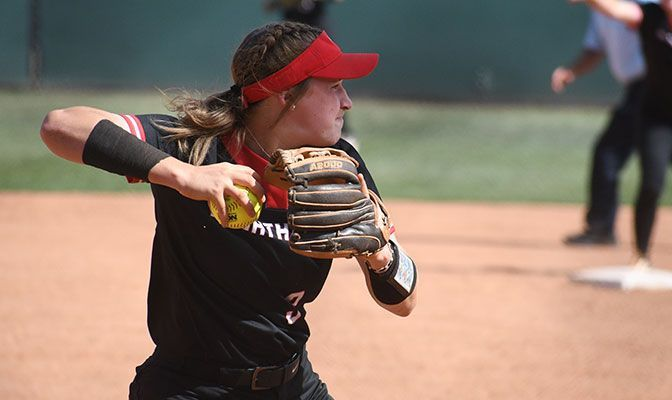 Abigail Gagnon had singles in third and fifth innings as Northwest Nazarene ended its season with a 31-14 record. Photo by Cayden Jones/CUI Athletics.