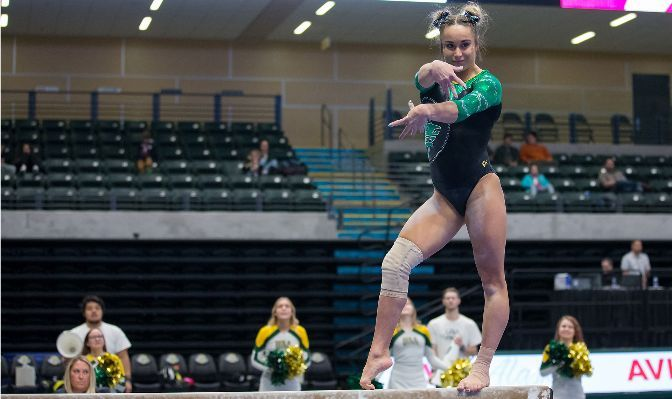 Louisa Marie Knapp scored a 9.5 or better on eight of 10 bar routines and topped the MPSF All-Academic Team with a 3.96 cumulative GPA as a junior in 2020.