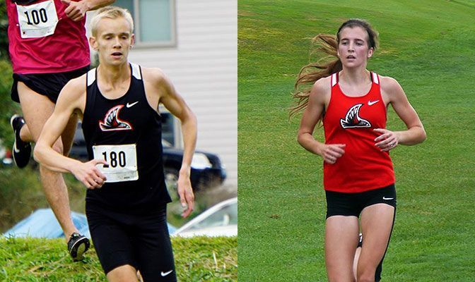 Tyler Shea (left) won the men's race at the College of Idaho Ice Chipper while Kalen Johnson placed third in the women's race.