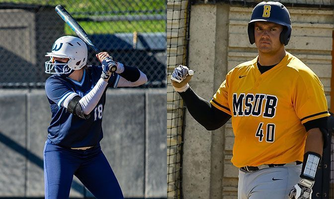 Rylie Wales (left) batted .583 to lead Western Washington softball to a 3-1 week. Cipriano batted .533 for MSUB baseball and became the school's all-time home run leader.