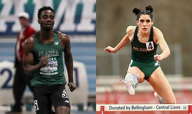 Campbell (left) won the 100 and 200 meters at WOU Pop-Up Meet & the 400 at the Linfield Invitational. Cano won three events at Linfield. Photos by Loren Orr (Campbell) and Jeff Evans.