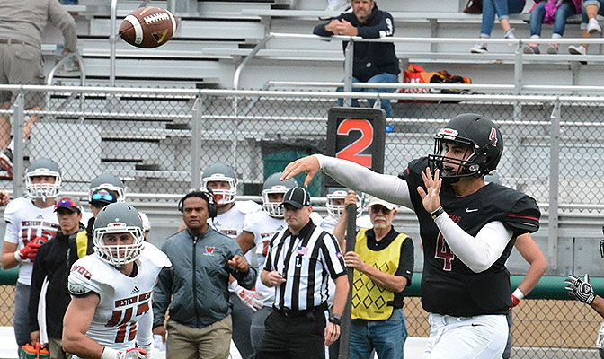 Central Washington junior trasnfer quarterback Reilly Hennessey has averaged 212 passing yards per game in his first two contests with the Wildcats. Photo courtesy CWU Athletics.