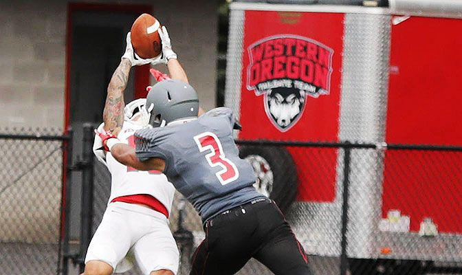Western Oregon's Curtis Anderson had two of the Wolves' five interceptions against Western New Mexico, earning the freshman GNAC Defensive Player of the Week honors.