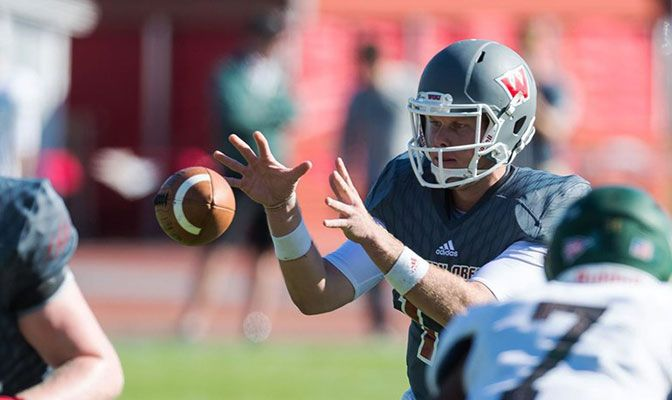 In Saturday's 55-27 win over Humboldt State, Western Oregon quarterback Nick Duckworth tied a GNAC record with six touchdowns. Photo by Chris Oertell.