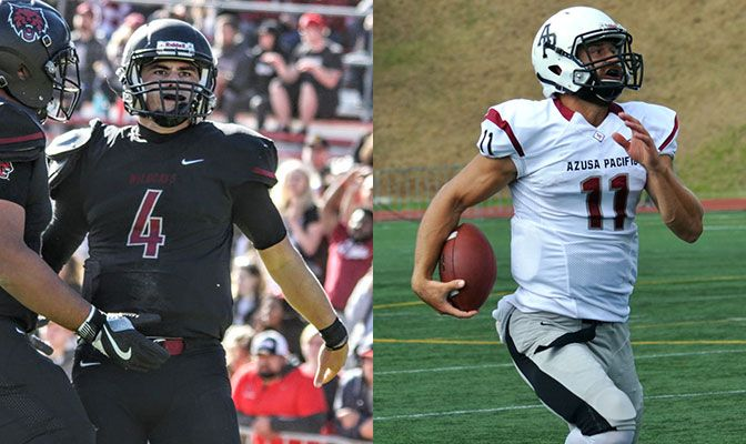 The Division II Football Showcase will feature two of the West's top quarterbacks in Central Washington's Reilly Hennessey (left) and Azusa Pacific's Andrew Elffers.