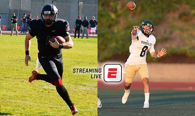 The Nov. 11 Division II Football Showcase game features two of the GNAC's top quarterbacks in Central Washington's Reilly Hennessey (left) and Humboldt State's Robert Webber.