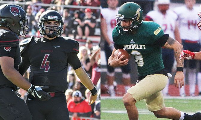 Saturday's game on ESPN3 will feature two of the top quarterbacks in the GNAC in Central Washington's Reilly Hennessey (left) and Humboldt State's Robert Webber.