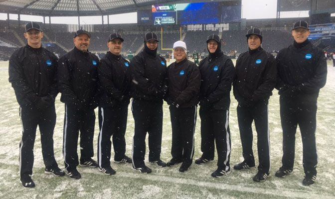 Bob Rose (fourth from right, in white hat) with his crew prior to working the 2016 NCAA Division II Football National Championship game in Kansas City. Photo courtesy of Mike Burton.