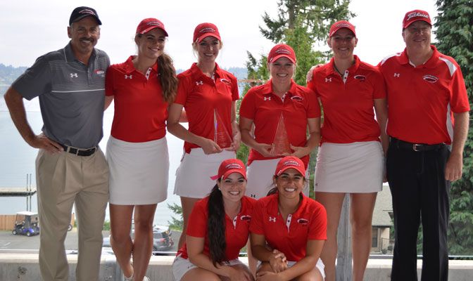 The Saints placed five golfers in the top 10 in the tournament, including individual winner Jennifer Liedes (middle left).