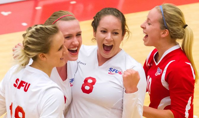 Simon Fraser volleyball is in fourth place in the GNAC standings with an 8-4 conference record. (Photo by Ron Hole)