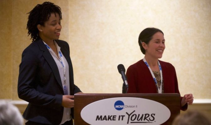 Sonja Robinson (left) leads the inclusion and diversity program at the NCAA's national office in Indianapolis, implementing programs association wide.
