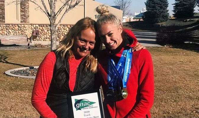 Brit and Addy Townsend following the 2020 GNAC Indoor Track & Field Championships. Addy won both the 800 meters and mile and was named the Women's Track Athlete of the Meet.