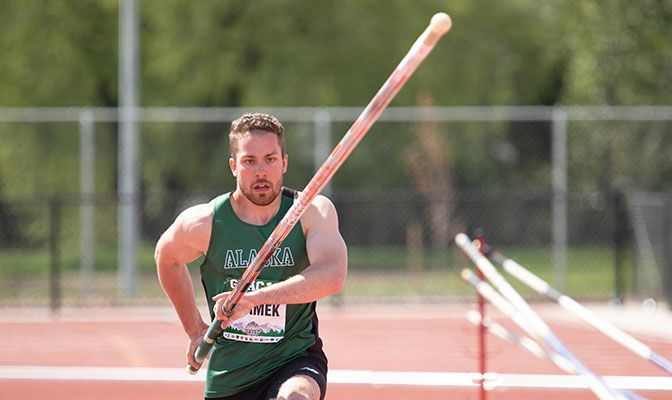 David Sramek placed second in the 2020 GNAC Indoor Championships heptathlon and is the UAA record holder in the pole vault both indoors and outdoors. Photo by Jacob Thompson.