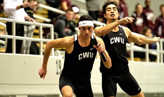 Gunner Vallatini (left) competed in the 60-meter hurdles and 400 meters and was part of CWU's 4000-meter DMR team that finished fourth at the 2020 GNAC Indoor Track and Field Championships.