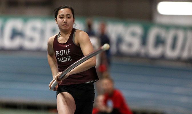 Seattle Pacific's Scout Cai has won in all eight pole vault competitions she has entered this season, including last Saturday's Peyton-Shotwell Invitational. Photo by Loren Orr.