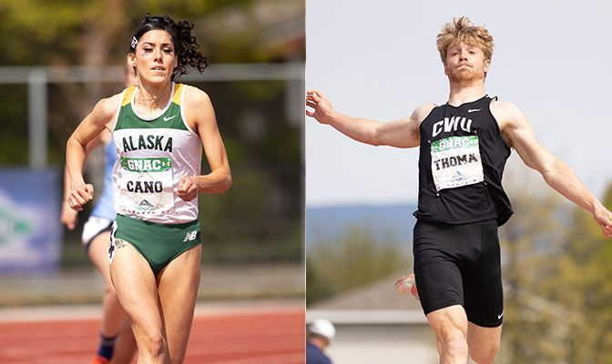 Alaska Anchorage senior Elena Cano (left) is leading the heptathlon by three points at 2,841 while Central Washington freshman Ryan Thoma holds a 45-point lead in the decathlon at 3,448.