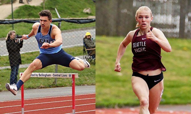 Cordell Cummings of WWU (left) is the defending champion in the men's 110-meter and 400-meter hurdles. Grace Bley of SPU is the defending champ in the women's 200 meters.