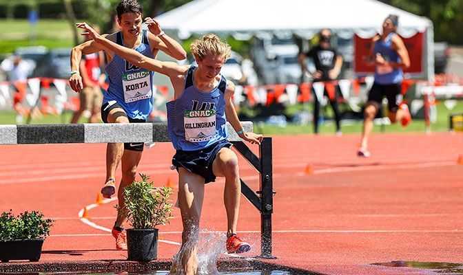 Jeret Gillingham's winning time of 8:55.30 is No. 4 on the GNAC All-Time List and improved his NCAA Championships provisional qualifying time. Photo by Gary Breedlove.