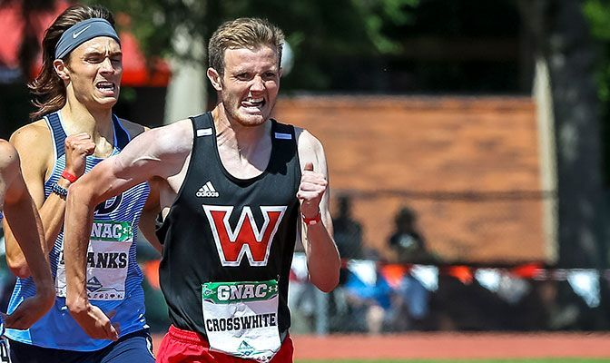 Justin Crosswhite earned his first outdoor All-GNAC honors with his second-place finish in the 1,500 meter as the 2021 GNAC Outdoor Championships. Photo by Gary Breedlove.