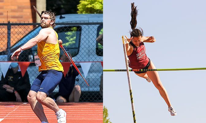 Beau Ackerman (left) has the No. 3 mark in the men's javelin while Cai is the GNAC record-holder in the women's pole vault. Photos by Gary Breedlove.