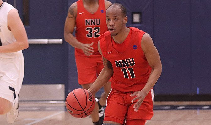 Ezekiel Alley led Northwest Nazarene with 10 points in his final game and was named to the All-Tournament Team. Photo by Kris Parker.