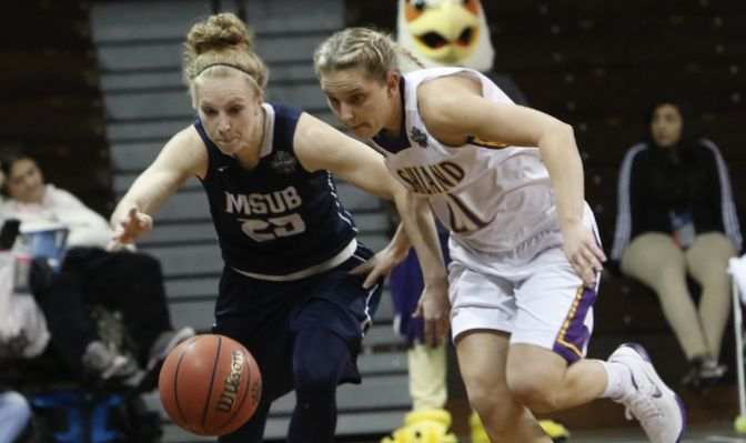 Senior guard Rylee Kane (left) produced 10 points and seven assists in 39 minutes of action. She ends her career fourth on the GNAC all-time assist list with 563. Photo courtesy of Ashland University.