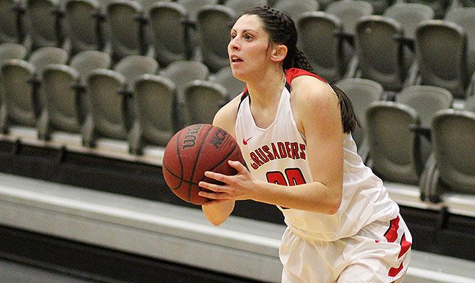 Carly Parker played in all 27 games and started 11 for the Crusaders at guard in 2016-17, averaging 5.6 points per game.