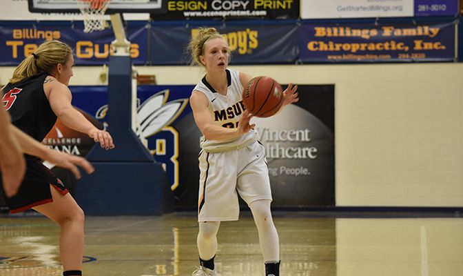 Montana State Billings senior guard Rylee Kane leads the GNAC and is 15th in Division II with 5.8 assists per game. She looks to help snap the Yellowjackets' three-game losing skid.
