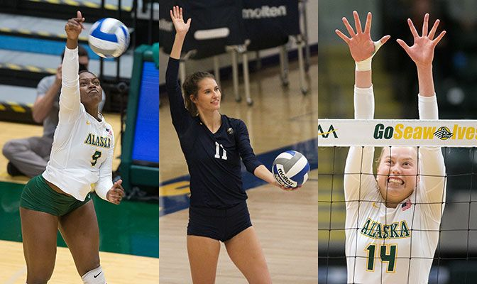 Chrisalyn Johnson (left) and Eavan Taylor (center) share the Volleyball Offensive Player of the Week award while Vera Pluharova wins the first defensive award of the season.