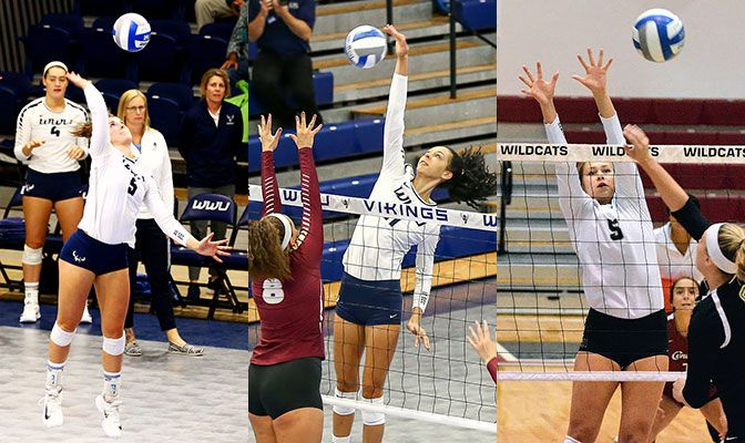 Western Washington's Abby Phelps (left) and Kayleigh Harper (center), along with Central Washington's Shelby Mauritson, were First Team D2CCA All-West Region selections.