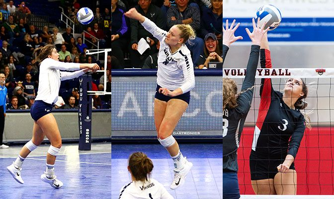 Abby Phelps (left) and Michaela Hall (center) were also First Team All-GNAC performers while Morgan Haskett was an honorable mention.