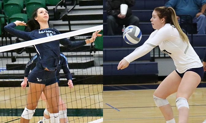 Harper (left) hit .460 to leads the Vikings to a pair of road wins. Wilkin had a career-high 34 digs in Saturday's Concordia win over Montana State Billings.