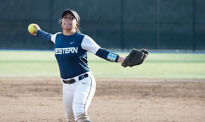 Western Washington's Shearyna Labasan earned GNAC Pitcher of the Week honors after winning two games and amassing a 2.50 earned run average in the contests.
