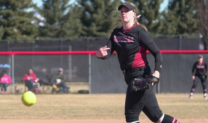Lexie Strasser had two wins in the circle for Central Washington against Montana State Billings, including a one-hitter on Sunday.