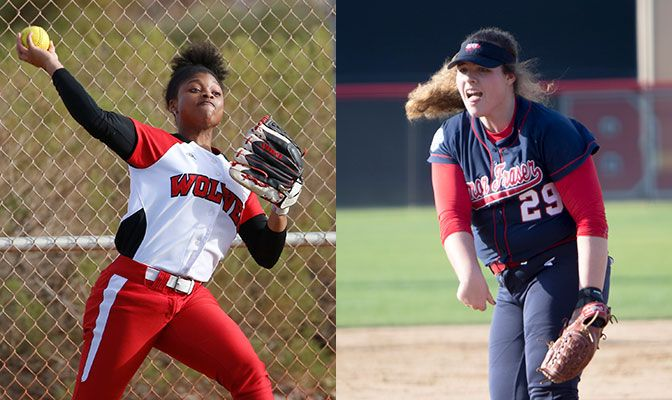 Arceneaux (left) batted .667 in the Wolves' final four games of the regular season. Stachoski pitched Simon Fraser to three complete-game wins.