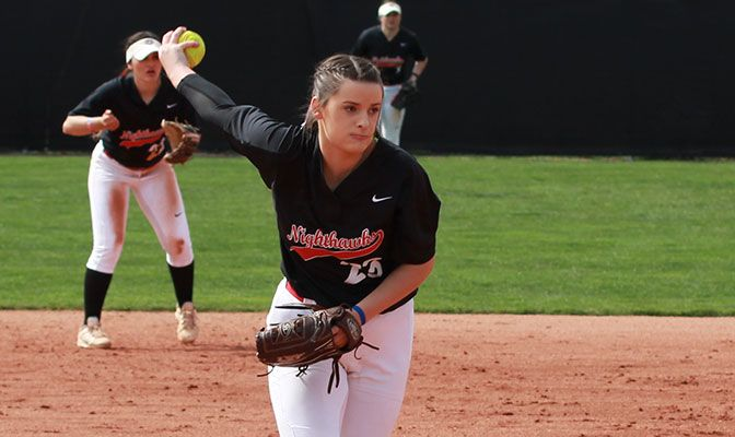 Jordan Adams was named both the Pitcher of the Year and Freshman of the Year. She leads the conference and is ranked 30th in Division II with a 1.49 earned run average.