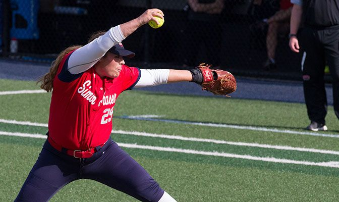 Simon Fraser's Alia Stachoski faced just one batter over the minimum and gave up one hit. It was her fourth straight complete-game win. Photo by Tyler Kanoa.