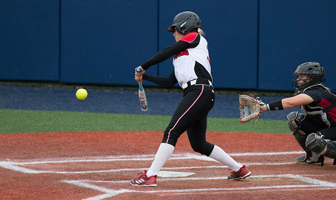 Zoe Clark's 11th home run of the season proved to be the game-winning hit as the Wolves survived to play Simon Fraser in a second elimination game tonight. Photo by Tyler Kanoa.