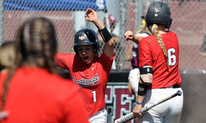 Pinch-running for Brittany Genuardi, Lauren Bassett scores Northwest Nazarene's first run in a 5-2 loss to Chico State. Photo by Matt Bates/Chico State Univ.