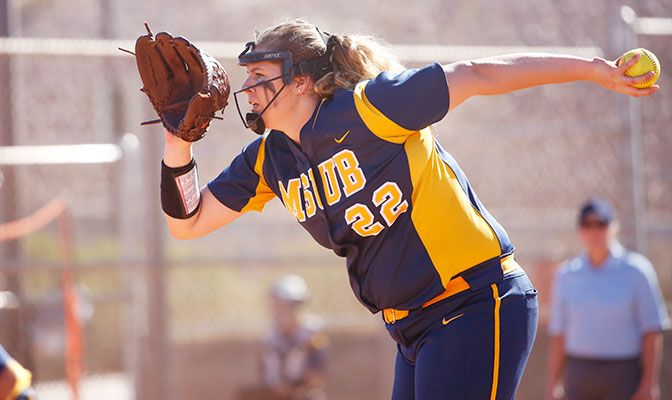 Maddy Lincoln was named GNAC Pitcher of the Week after she went 3-1 with a 1.29 earned run average while pitching in all five MSUB Desert Stinger games.