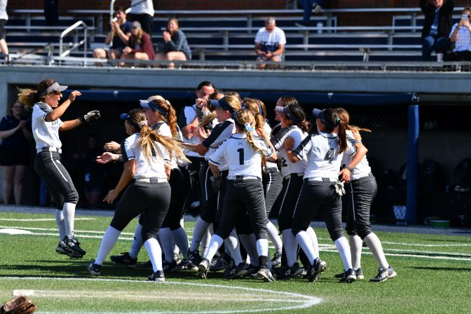 Winning three games in three days, the Cavaliers emerged as the last team standing at the 2019 GNAC Softball Championships. Photo by Phillip Sedgwick.