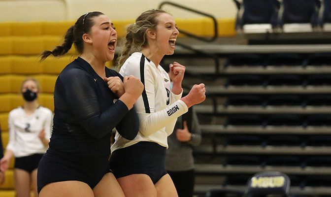 Maddi Vigil (left) and Skyler Reed were named the GNAC Volleyball Players of the Week after leading MSUB to three wins last week.
