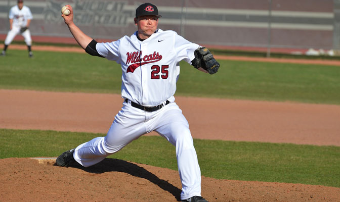 CWU starter Willie Davies earned the victory in the Wildcats' series-clinching 6-4 win over Western Oregon on Sunday.