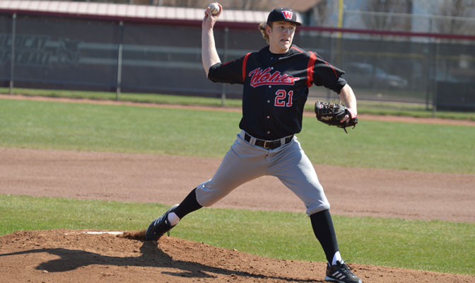 WOU starter Eric Huson has been one of the top pitchers in the GNAC all season, and most recently contributed eight outstanding innings towards the Wolves' 4-0 series sweep last week.