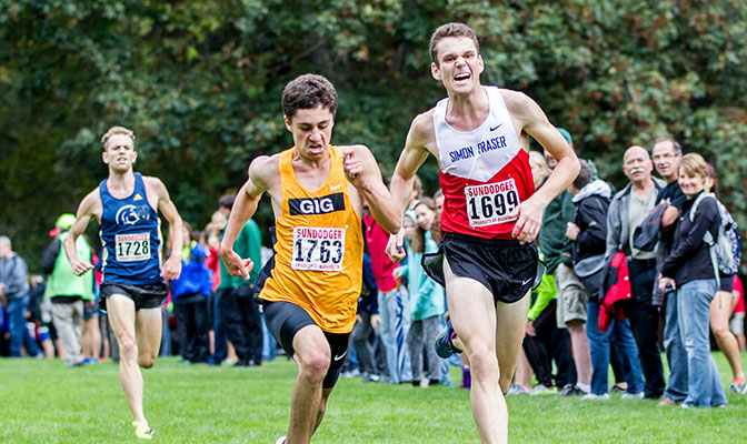 Simon Fraser's Oliver Jorgensen finished second in a tight three-man race at the Sundodger Invitational. He clocked 24:12.15 for 8,000 meters.