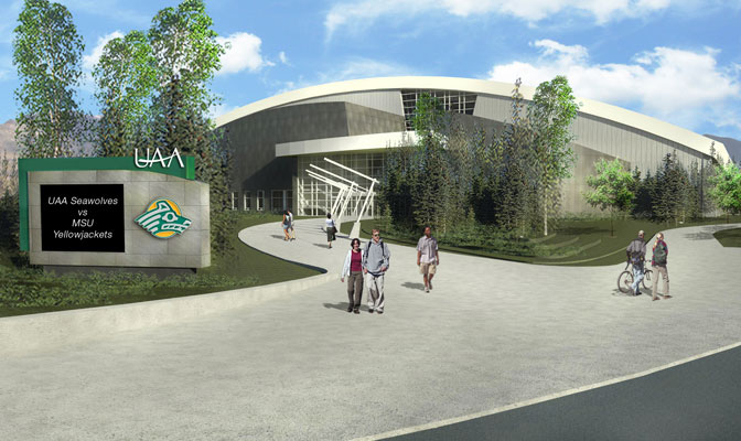 Scheduled to open in the fall of 2014, the new arena will house the basketball, volleyball and gymnastics programs at UAA.
