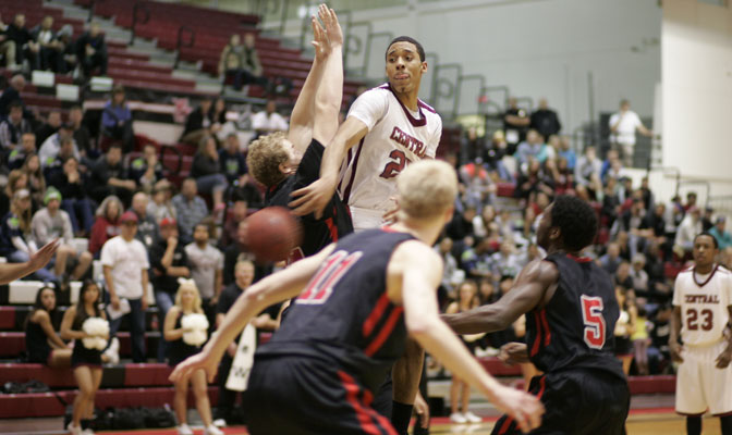 CWU center Kevin Davis was instrumental in the Wildcats' double overtime victory over WOU with a double-double and five blocks.